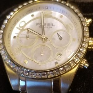Fossil CH2550 Gold Stainless Quartz Mother-Of-Pear